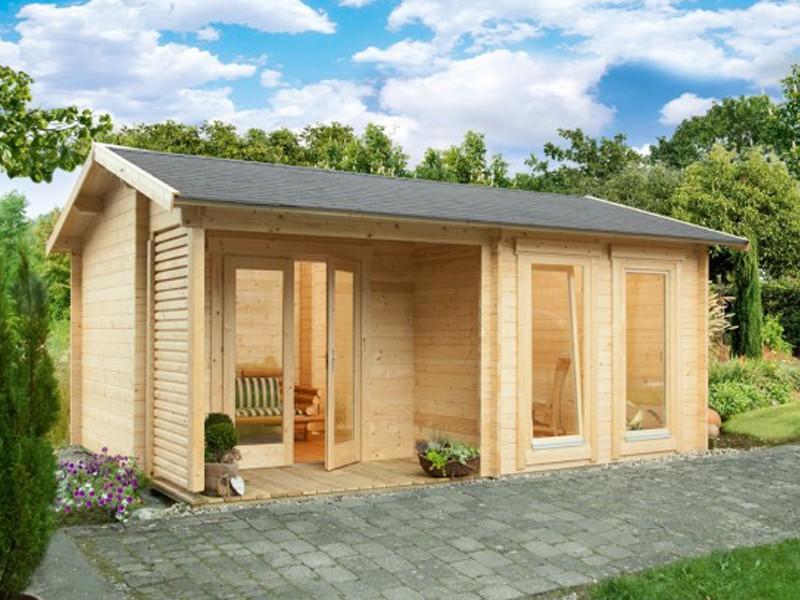 Wolff Finnhaus Holz-Gartenhaus Satteldachhaus Malaga 40-A - 40 mm - Modern