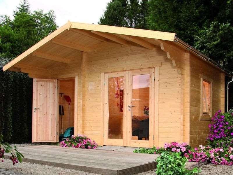 Wolff Finnhaus Holz-Gartenhaus Caro 58-B Modern Satteldach Bohlenmaße: 470 x 320 cm