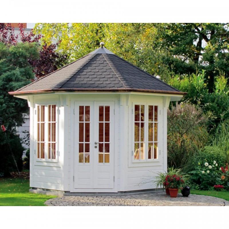 Wolff Finnhaus Holz-Gartenhaus Holz Gartenpavillon aus Holz Milano - 45mm -  3.0 schwarz