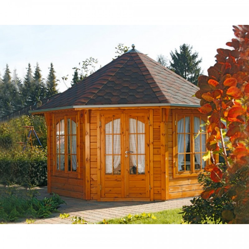 Wolff Finnhaus GartenHolz Gartenpavillon Roma 4.0 schwarz