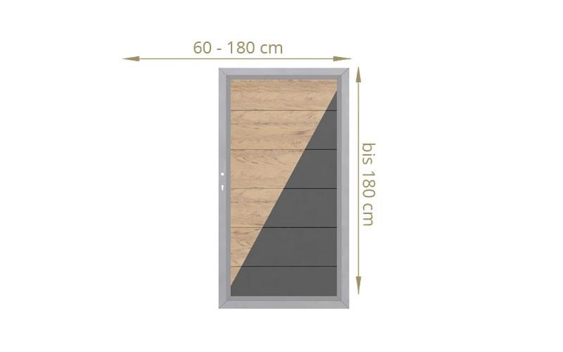 TraumGarten Einzeltor Maßanfertigung Design WPC Alu Farbe wählbar - Breite wählbar cm Höhe wählbar cm