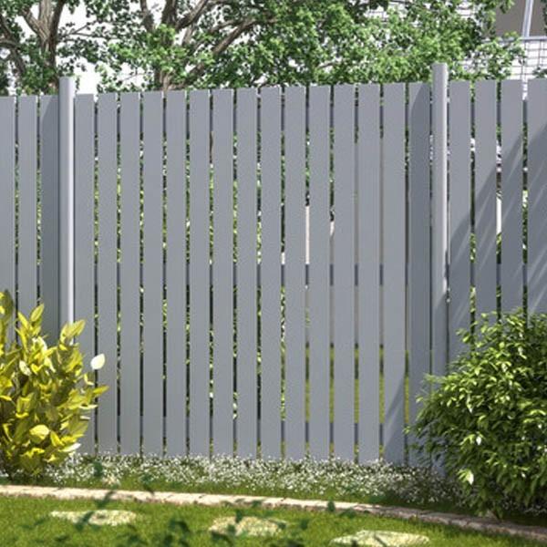 TraumGarten Sichtschutzzaun Aluminium Maßanfertigung Squadra Rechteck silber
