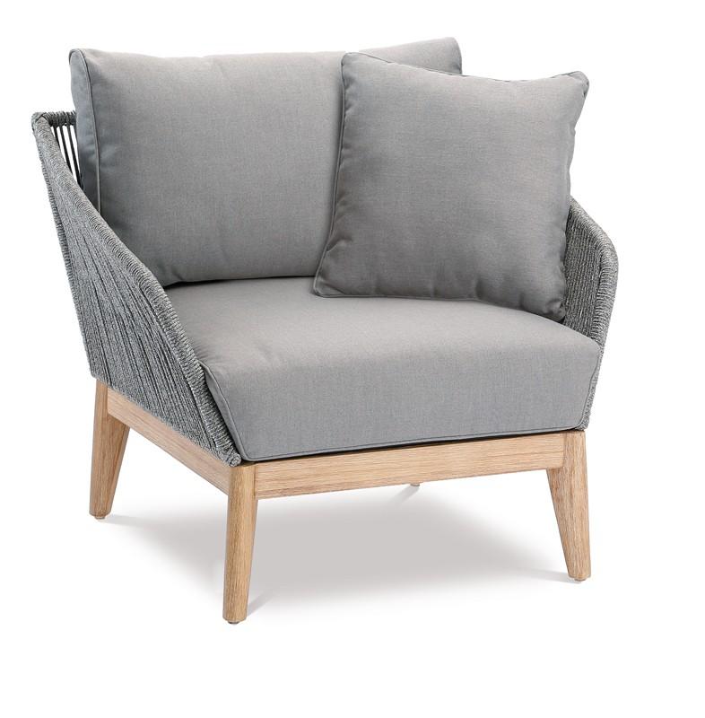 Best Sessel Gartensessel Samos 1-Sitzer inkl. Auflagen und 1 Kissen - Eukaltyptus/Rope