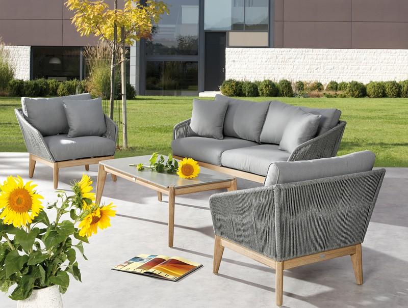 Best Gartenmöbel-Set Lounge-Gruppe Samos 4-tlg. inkl. Auflagen und 2 Kissen - Eukaltyptus/Rope