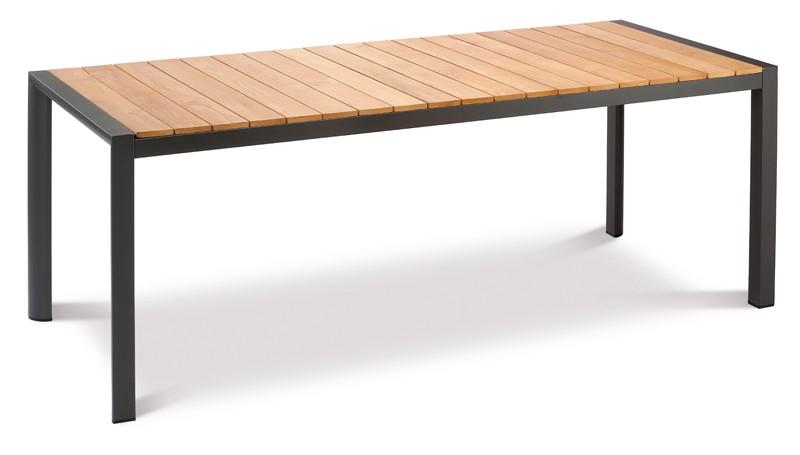 Best Gartentisch Paros - Dining-Teakholz Tisch - rechteckig - Aluminium/Teakholz - anthrazit/Teakholz - 210 x 90 x 76 cm