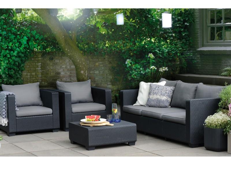Best Gartenmöbel-Set Lounge-Gruppe Burano 4-tlg. inkl. Sitzauflagen & Rückenkissen - Vollkunststoff - graphit/hellgrau