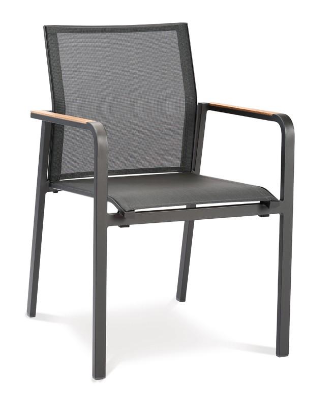 Best Paros Gartenmöbel-Set -  Aluminium/Ergotex/Teak in anthrazit