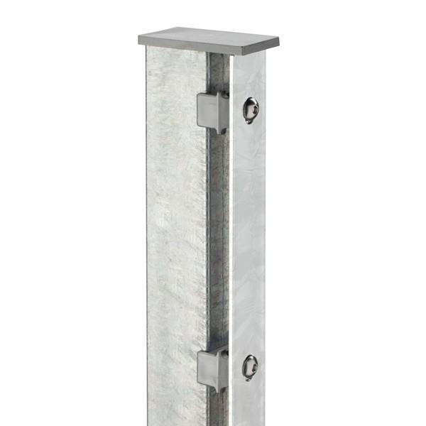 Zaunpfosten Doppelstabgitterzaun Typ A80  Silbergrau verzinkt - Länge: 2600 mm