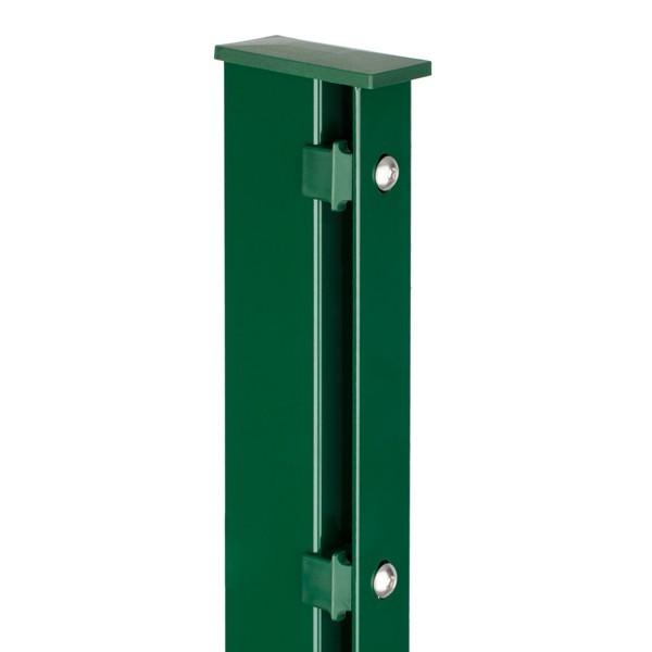 Zaunpfosten Doppelstabgitterzaun Typ A80 RAL 6005 moosgrün - Länge: 2400 mm