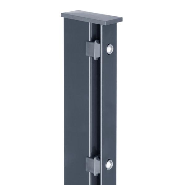 Zaunpfosten Doppelstabgitterzaun Typ A80 RAL 7016 anthrazitgrau  - Länge: 2400 mm