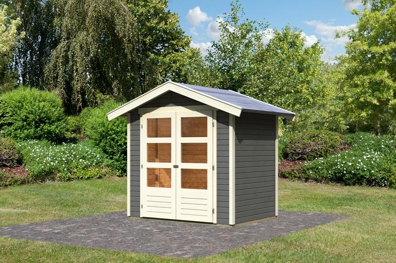Karibu Holz-Gartenhaus  19mm Harburg 2 inkl. Türversion modern terragrau