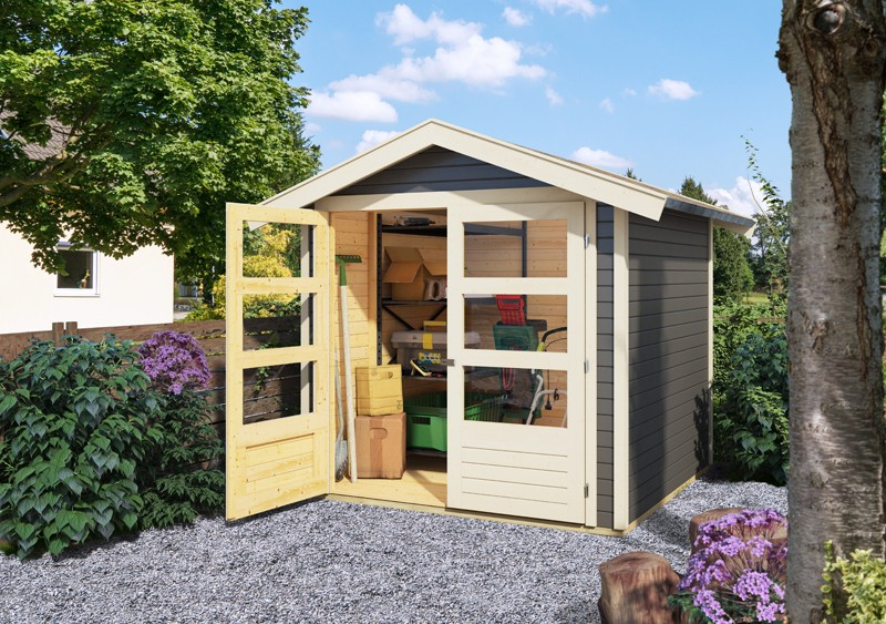 Karibu Holz-Gartenhaus  19mm Harburg 4 inkl. Türversion modern terragrau
