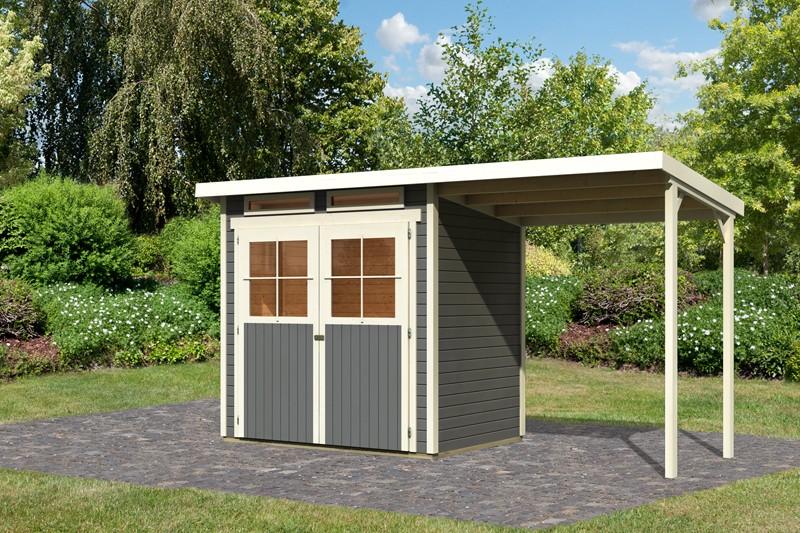 Karibu Holz-Gartenhaus  19mm Glücksburg 2 im Set mit Anbaudach terragrau