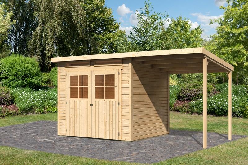 Karibu Holz-Gartenhaus Glücksburg 4 mit Anbaudach 1,90m - Pultdach - 19 mm Schraub-/Stecksystem - naturbelassen