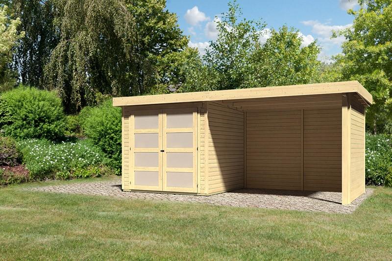 Karibu Holz-Gartenhaus  19mm Mühlendorf 2  im Set mit Anbaudach 2,80 m Breite und 19 mm Seiten- und Rückwand naturbelassen