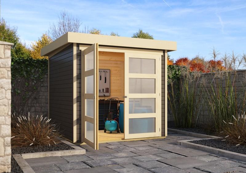 Karibu Holz-Gartenhaus  19mm Mühlendorf 2  im Set mit Anbaudach 2,80 m Breite und 19 mm Seiten- und Rückwand terragrau