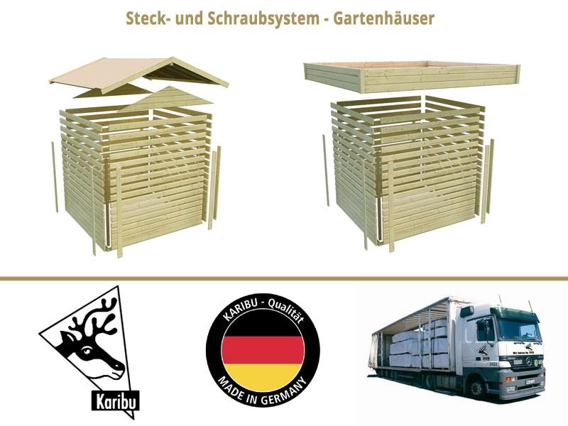 Karibu Holz-Gartenhaus  19mm Qubic im Set mit Anbaudach naturbelassen