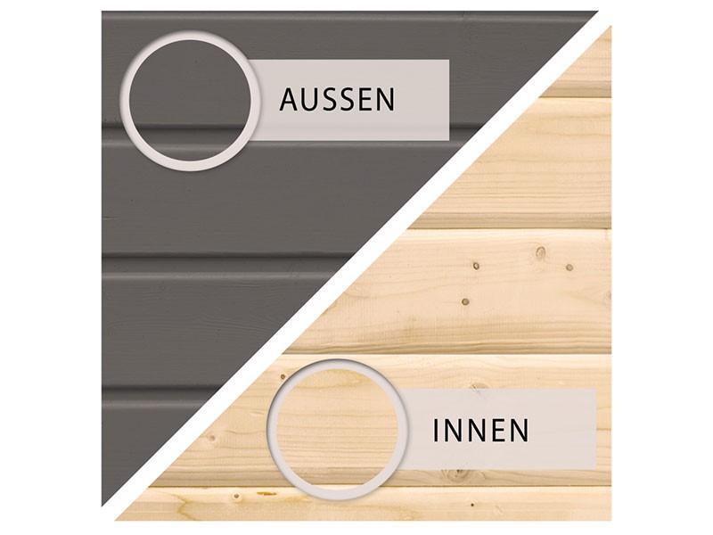 Karibu Holz-Gartenhaus Qubic 1 mit Anbaudach 2,4 m- 19 mm Steck-/Schraubsystem - terragrau - inkl. Alu-Abschlussleiste