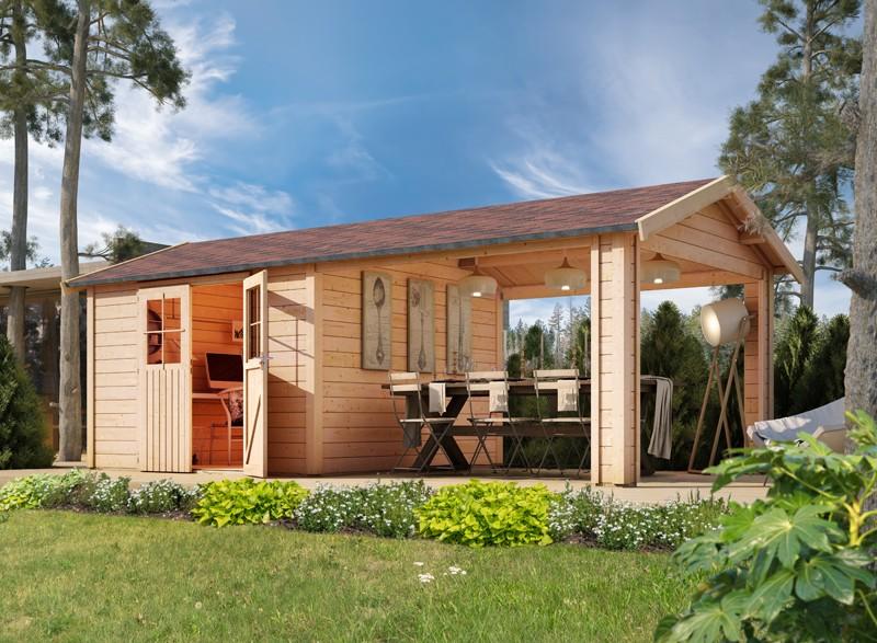 Karibu Holz-Gartenhaus  28mm Espelo 3 naturbelassen