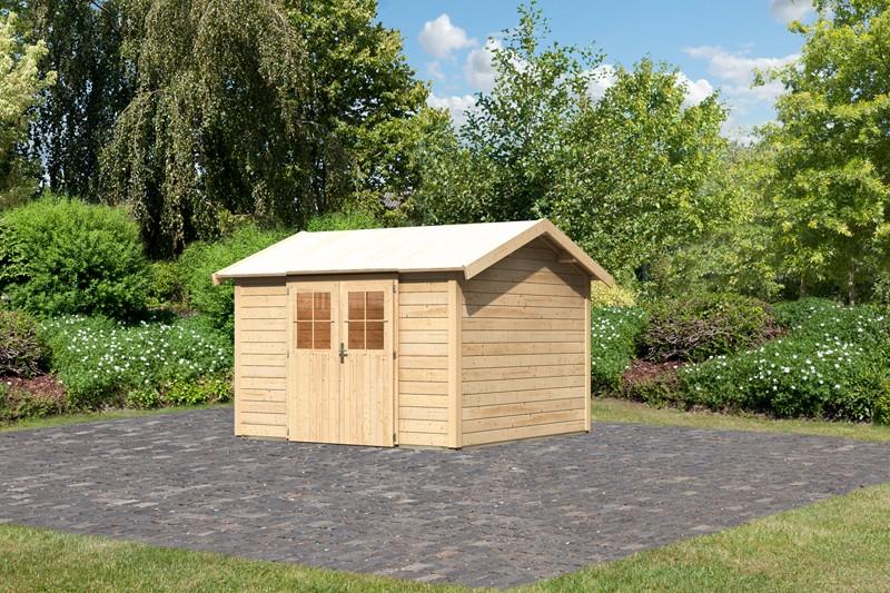 Karibu Holz-Gartenhaus  28mm Espelo 7 naturbelassen