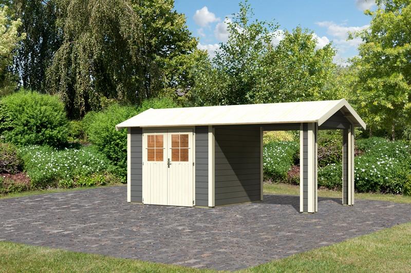 Karibu Holz-Gartenhaus  28mm  Espelo 3 im Set mit 1 Dachausbauelement terragrau