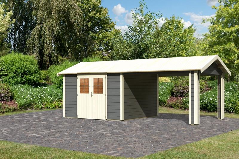 Karibu Holz-Gartenhaus  28mm  Espelo 7 im Set mit 1 Dachausbauelement terragrau