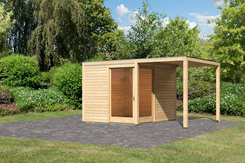 Karibu Holz-Gartenhaus 28mm Qubu Eck naturbelassen