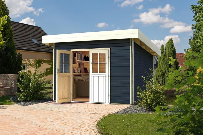 Karibu Holz-Gartenhaus  40 mm  Moosburg 3 Türversion classic im Set 3 m Anbaudach naturbelassen