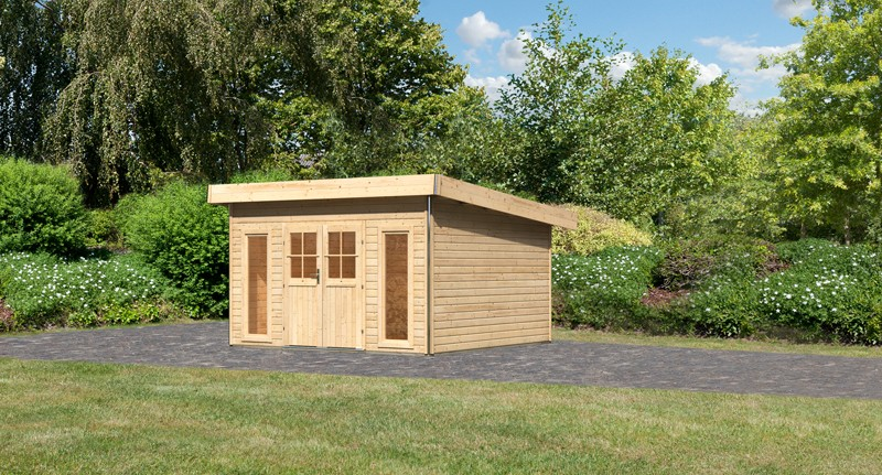 Karibu Holz-Gartenhaus  40 mm Tecklenburg 2 Türversion classic naturbelassen