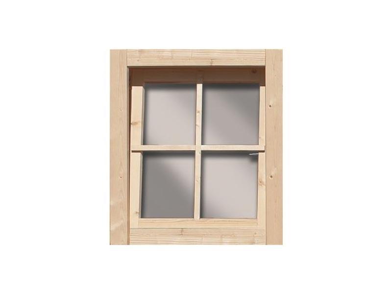 Karibu Holz-Gartenhaus  38 mm gerades Fenster ( 28mm inkl Umrüstleise als Set) elfenbeinweiss
