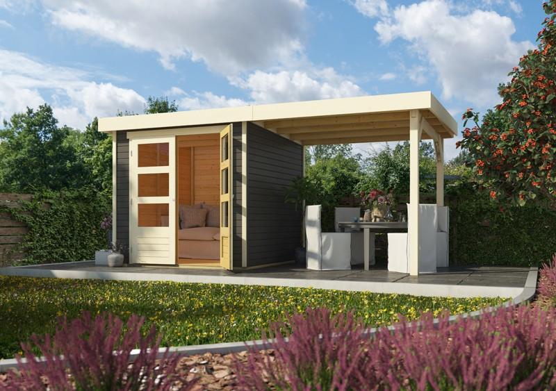 Woodfeeling Holz-Gartenhaus Askola 3 mit Anbaudach 2,4m  - 19 mm Schraub-/Stecksystem - terragrau