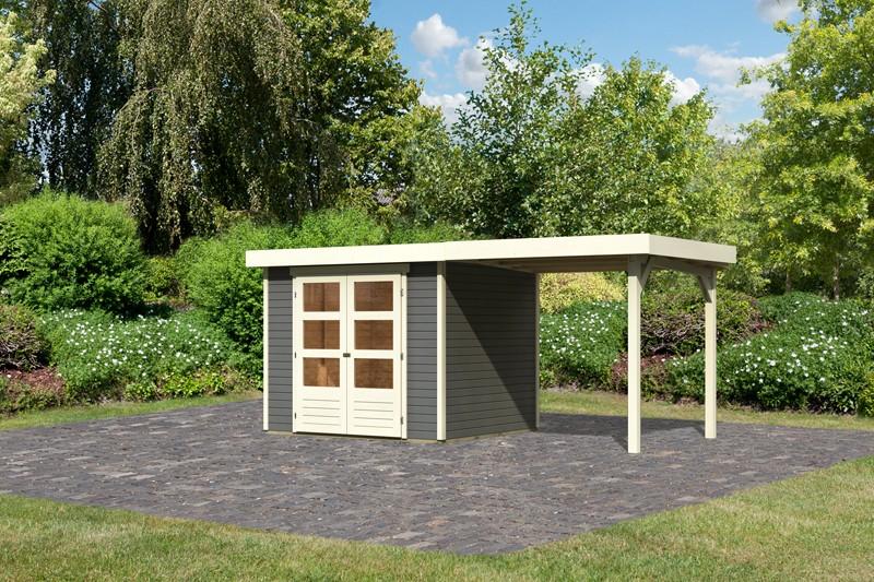 Woodgarden Holz-Gartenhaus Saale 3  im Set mit Anbaudach 2,40  m Breite in terragrau