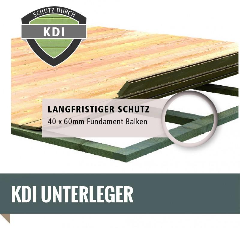 Woodfeeling Karibu Holz-Gartenhaus Askola 2 im Set mit Anbaudach 2,40 m Breite und 19 mm Seiten- Rückwand in terragrau