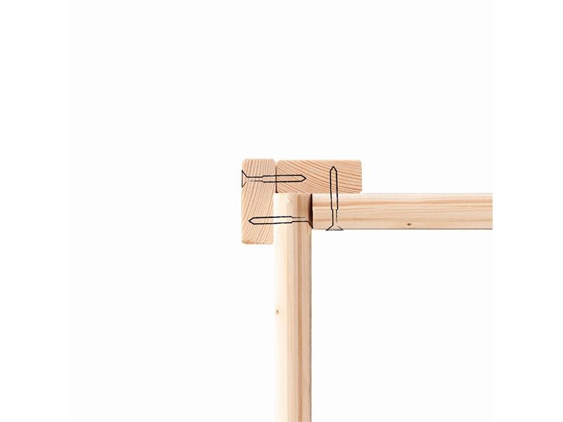 Woodfeeling Holz-Gartenhaus Kerko 4 mit Anbaudach 2,4m - 19 mm Schraub-/Stecksystem - naturbelassen