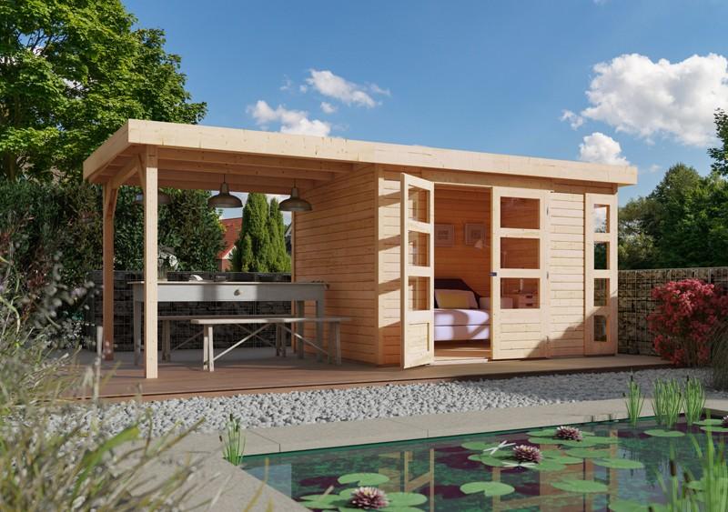 Woodfeeling Karibu Holz-Gartenhaus Kerko 4  im Set mit Anbaudach 2,80 m Breite in naturbelassen (unbehandelt)