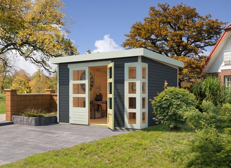 Woodfeeling Karibu Holz-Gartenhaus Kerko 4  im Set mit Anbaudach 2,80 m Breite in terragrau