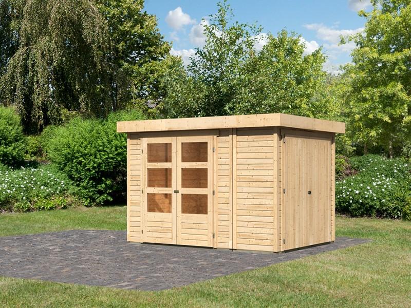 Woodfeeling Gartenhaus Retola 2 inkl. Anbauschrank - 19 mm Schraub-/Stecksystem - naturbelassen