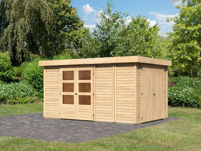 Woodfeeling Holz-Gartenhaus Retola 6 inkl. Anbauschrank - 19 mm Schraub-/Stecksystem - naturbelassen