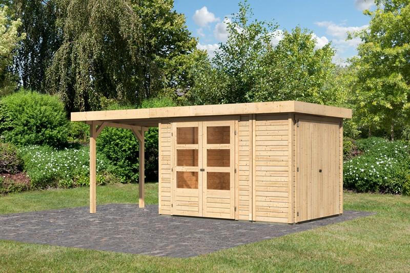 Woodfeeling Karibu Holz-Gartenhaus Retola 2 inkl. Anbauschrank und Anbaudach 2,40 m Breite in naturbelassen (unbehandelt)