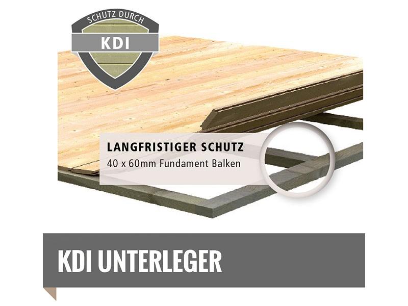Woodfeeling Holz-Gartenhaus Retola 6 inkl. Anbauschrank + Anbaudach 2,4m - 19 mm Schraub-/Stecksystem - naturbelassen