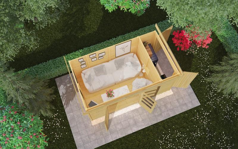 Woodfeeling Karibu Holz-Gartenhaus Retola 2 inkl. Anbauschrank und Anbaudach 2,80 m Breite in naturbelassen (unbehandelt)