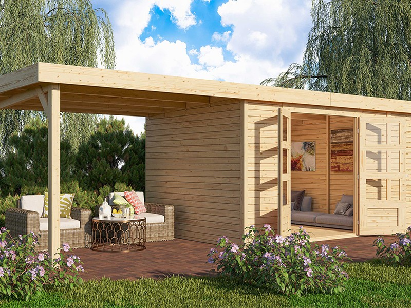 Woodfeeling Holz-Gartenhaus Retola 6 inkl. Anbauschrank + Anbaudach 2,8m - 19 mm Schraub-/Stecksystem - naturbelassen