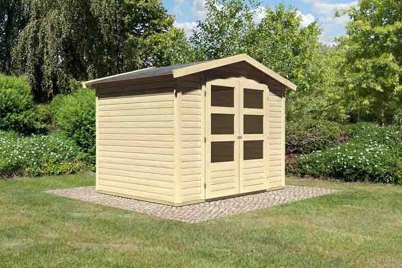 Woodfeeling Karibu Holz-Gartenhaus Amberg 3 in naturbelassen (unbehandelt)