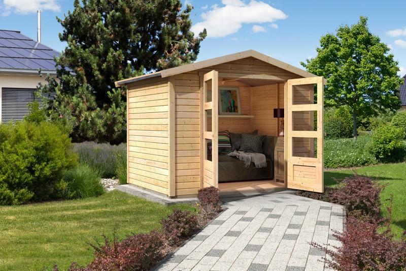 Woodfeeling Karibu Holz-Gartenhaus Amberg 4 in naturbelassen (unbehandelt)