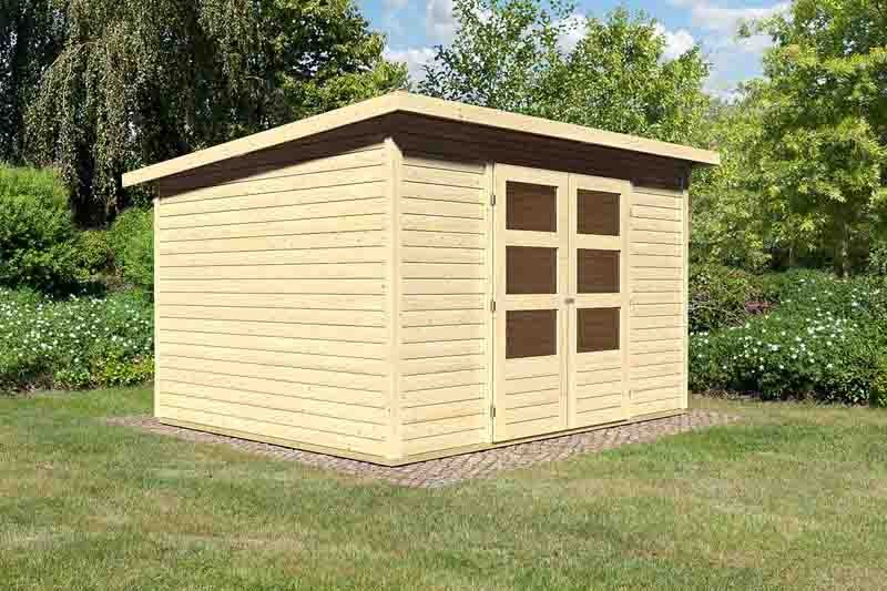 Woodfeeling Karibu Holz-Gartenhaus Stockach 5 in naturbelassen (unbehandelt)