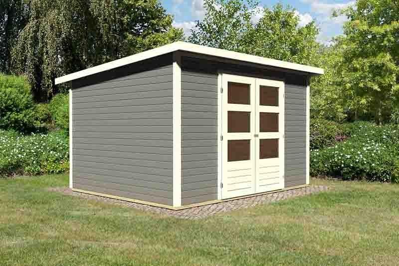 Woodfeeling Karibu Holz-Gartenhaus Stockach 5 in terragrau
