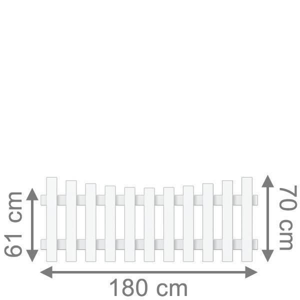 TraumGarten Vorgartenzaun Kunststoff Longlife Cara Rundbogen unten weiß - 180 x 70 (61) cm