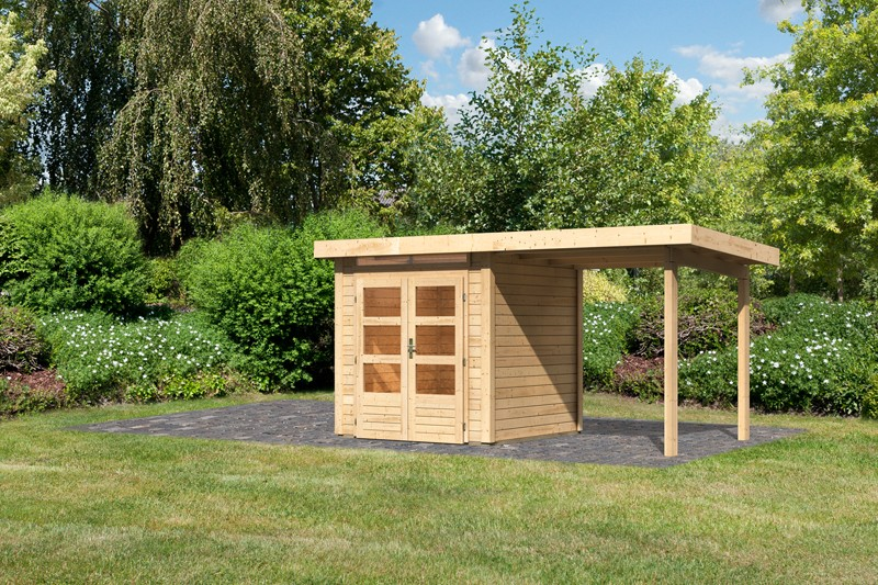 Woodfeeling Karibu Holz-Gartenhaus Kandern 1  im Set mit Anbaudach 2,35 m Breite in naturbelassen (unbehandelt)