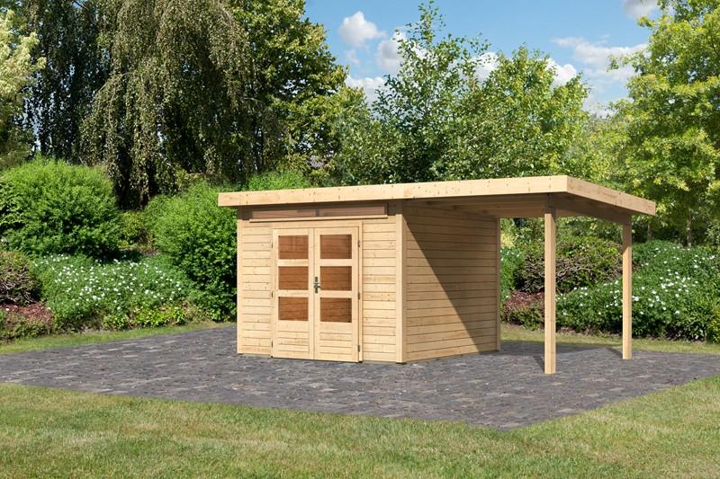 Woodfeeling Karibu Holz-Gartenhaus Kandern 6 im Set mit Anbaudach 2,35 m Breite in naturbelassen (unbehandelt)