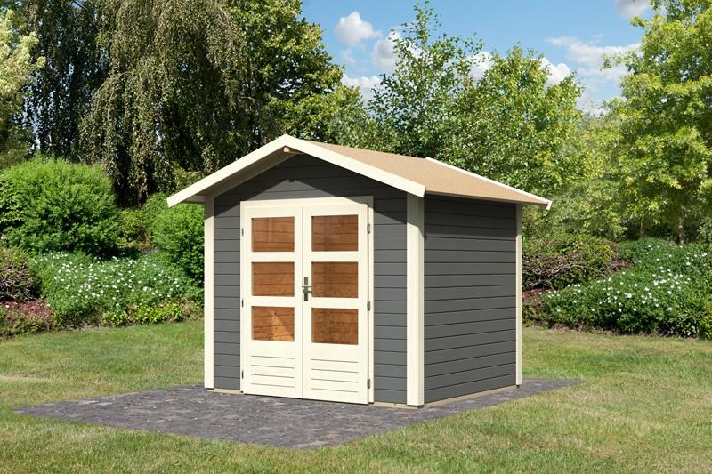 Woodfeeling Karibu Holz-Gartenhaus Talkau 3  in terragrau
